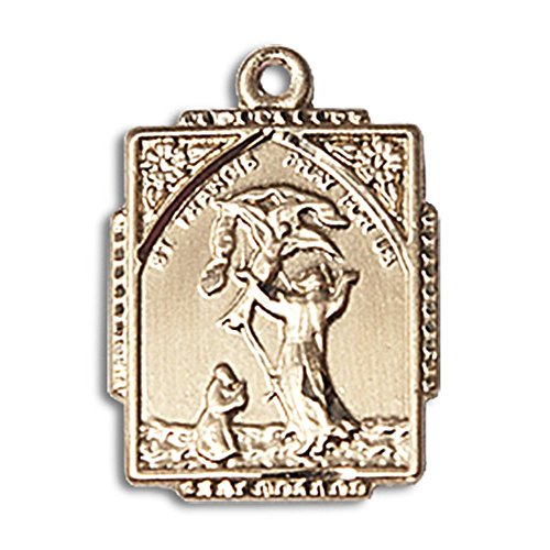 (14kt Yellow Gold St. Francis of Assisi Medal 5/8 X 1/2 inches)
