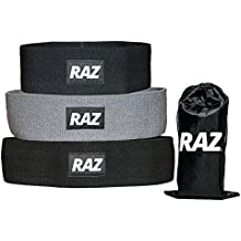 Raz Hip Resistance Bands (Set of 3) Pack - Hip Activation Circles for Squats, Leg, Thigh, and Glute Warmups + Workouts - Non Slip Loops (Light-Low, Medium, Heavy-High Resistances)