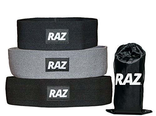 Raz Pack - Raz Hip Resistance Bands (Set of 3) Pack - Hip Activation Circles for Squats, Leg, Thigh, and Glute Warmups + Workouts - Non Slip Loops (Light-Low, Medium, Heavy-High Resistances)
