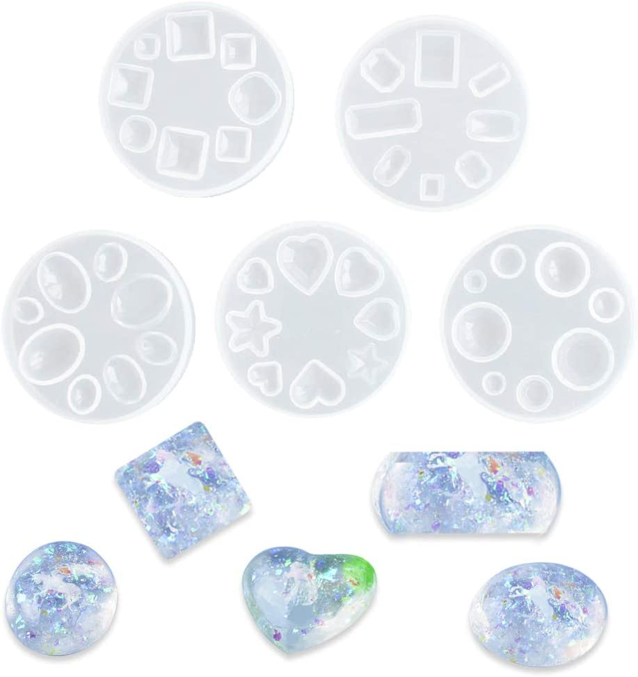Crystal Epoxy Mold for DIY Resin Jewelry Making 5 Pcs Silicone Mould Small Round Love Rhombus Rectangle Square Polygon