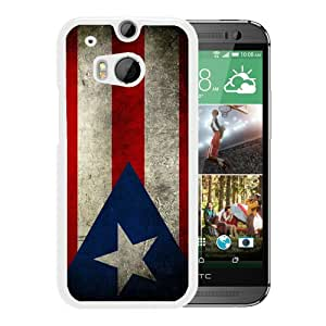 Popular Custom Designed Case For HTC ONE M8 With Puerto Rico Puerto Rican Flag White Phone Case
