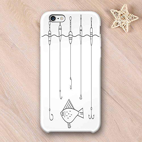 Nautical Decor No Odor Compatible with iPhone Case,Illustration of Fishing Tackle Floaters Hooks Fishing Gear Equipment Doodle Style Art Compatible with iPhone 7/8 Plus,iPhone 6/6s