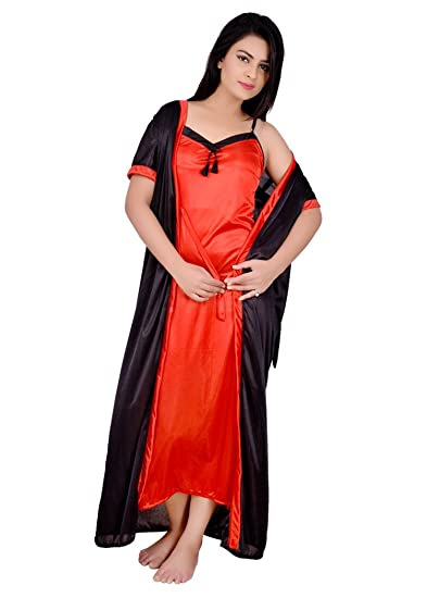 Kanika Women  Satin Nighty with Robe (KRS00060 eb895eb3c