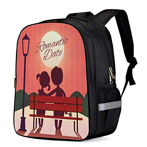 (School Backpack,Park Lovers Shadow Moon Bench School Bag Student Laptop Book Bag Rucksack Daypack for Teen Boys and Girls 16 Inch)