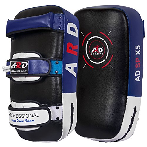 Curved Mitts (ARD Kick Boxing Strike Curved Thai Pad MMA Focus Muay Thai Punch Shield Mitt (1 Unit) (Blue))