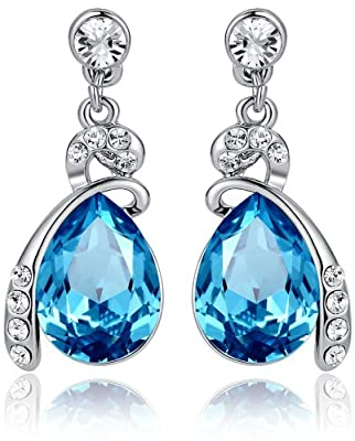 Eternal Love Teardrop Austrian Crystal Earrings Ocean Blue