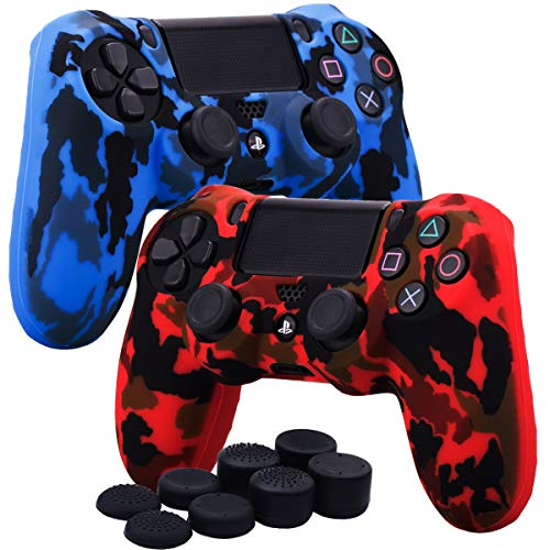 YoRHa Water Transfer Printing Camouflage Silicone Cover Skin Case for Sony PS4/slim/Pro Dualshock 4 controller x 2(red+blue) With Pro thumb grips x ()