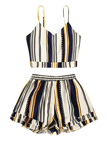 (Verdusa Women's Striped Knot Back Cami Top with Shorts Set Multicolor-Stripes L)