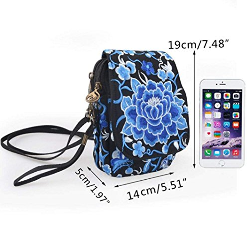 Crossbody Small Messenger Embroidery YaJaMa Handbag Travel Bag Cellphone Women Pouch Shoulder Blue EqwIccRnBf