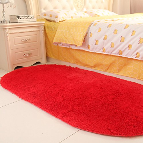 Sundian Oval Oval Oval massives Bett Schlafzimmer Schlafzimmer Flur Teppich im Wohnzimmer Teppich Teppich, 80  160 cm [Verdickung], Claret B077ZDD5C8 Teppiche 30c5e9
