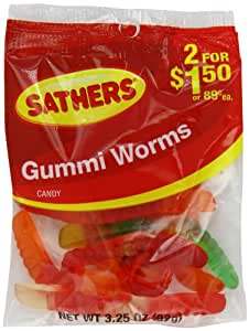 Farley's & Sathers Candy, Gummy Worms, 3.25 Ounce (Pack of 12)