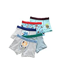 URVIP Boy's Boxer Briefs Toddler Underwear Cotton with Assorted Colors 5 Pack