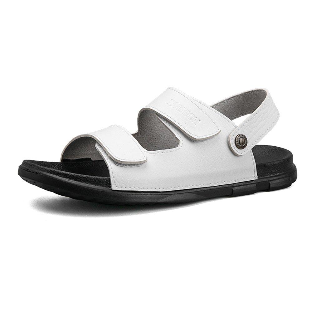 Zapatillas de Playa de Cuero PU de los Hombres Ocasionales Antideslizantes Sandalias Planas Suaves Amantes Zapatos sin Respaldo Ajustable,para los Hombres 45 EU|White