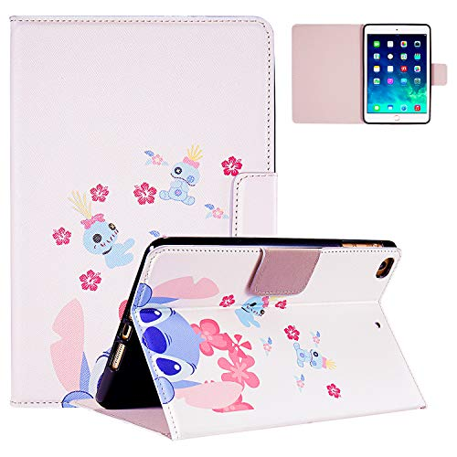 Logee Lilo & Stitch Case for iPad Mini 1/2/3/4,PU Leather Cartoon Animal Cute Design Stand Wallet Folio Soft Smart Function Cover,Fashion Cool Protective Flip Cases for Kids Teens Girls(Mini1/2/3/4)