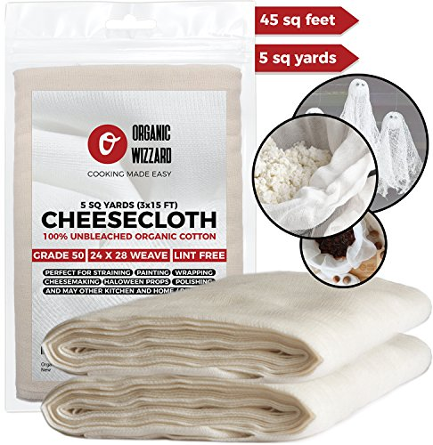 Cheesecloth - Organic Unbleached Cotton Fabric - Grade 50 Ultra Fine Mesh. 45 Sq Feet (5 yards) of 100% Natural, Washable and Reusable Food Filter/Strainer