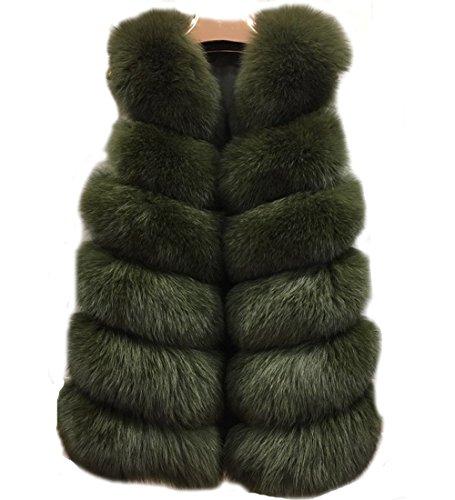 Femme Manteau Dunkelgr¨¹n Veste Fur Faux Folobe RxTCzZqwq