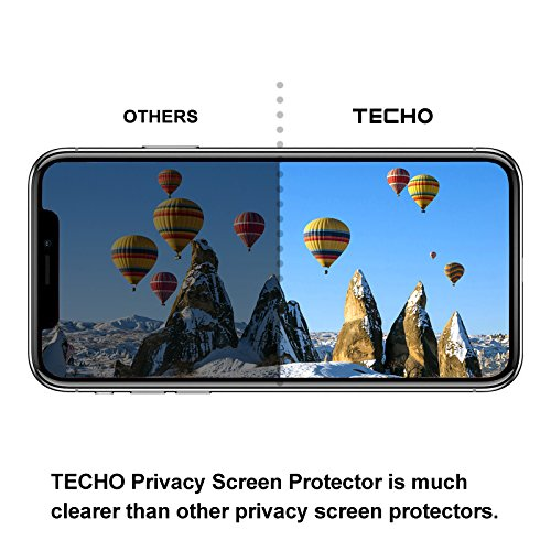TECHO Privacy Screen Protector for iPhone X, Anti Spy 9H Tempered Glass for Apple iPhone 10, Edge to Edge Full Cover Screen Protector [Full Coverage] [Easy Install] by TECHO (Image #4)