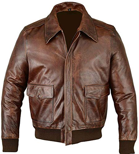 Fivestar Leathers Men's Air Force A-2 Leather Flight Bomber Jacket - Brown - Mens Flight Jacket Leather