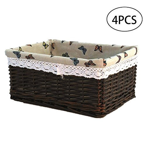OUNONA 4pcs Wicker Storage Basket Laundry Organizer Box for Toys Books Clothes Size S (Dark Brown)