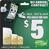 $5 GSM SIM Card 100 Mins. (Talk), 100 SMS