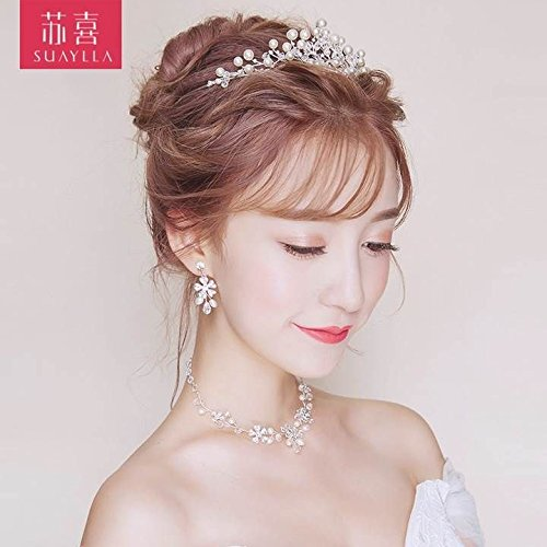 Quantity 1x In_ Bridal pearl Crown Tiara Party Wedding Headband Women Bridal Princess Birthday Girl Gift necklace earrings Wedding Hair Ornaments new bride Headdress _three_Han