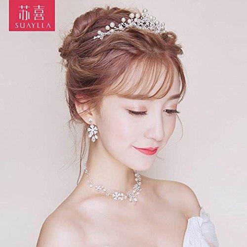 Quantity 1x In_ Bridal pearl Crown Tiara Party Wedding Headband Women Bridal Princess Birthday Girl Gift necklace earrings Wedding Hair Ornaments new bride Headdress _three_Han by Generic (Image #1)