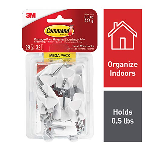 Command General Purpose Hooks, 0.5lb Capacity, Wire, White,