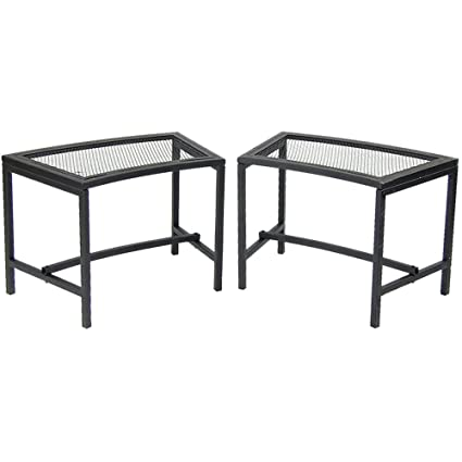 Enjoyable Sunnydaze Outdoor Curved Fire Pit Bench Rustic Backyard Backless Powder Coated Black Metal Mesh Garden Patio Porch And Deck Chair Seating Set Of Machost Co Dining Chair Design Ideas Machostcouk