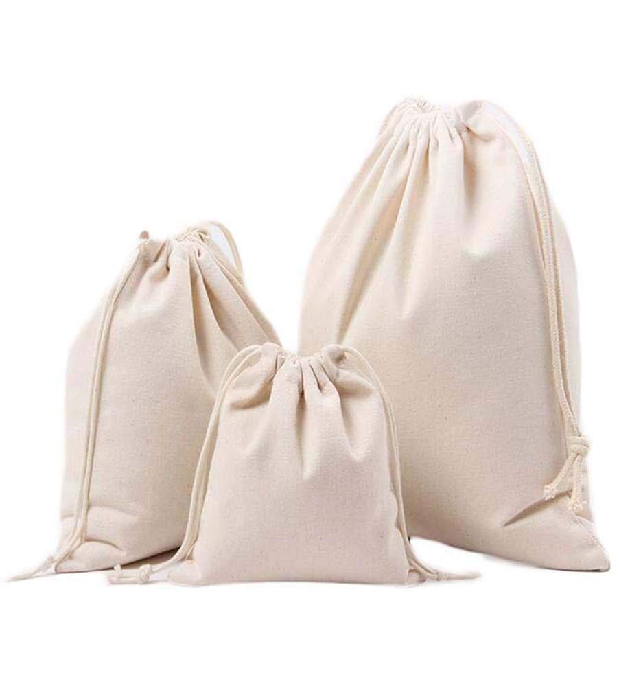 Canvas Cotton Plain Dust-proof Storage Bags Drawstring Pouches Home Travel 3PCS (Off White)