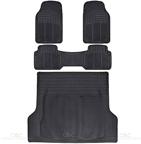 BDK Proliner Weather Rubber Auto Floor Mats and Cargo Liner-Heavy Duty Set Fit for Car SUV Van and Truck, 4 Piece, Black (MT35)
