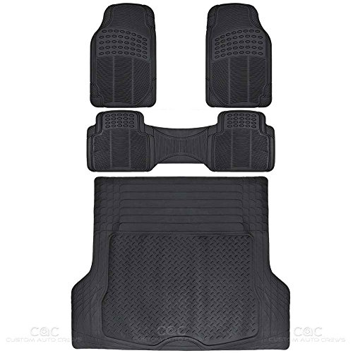 F Black Proliner Weather Rubber Auto Floor Mats and Cargo Liner-Heavy Duty 4pc Set (2012 Toyota Highlander Rubber)