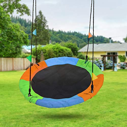 Sorbus Saucer Tree Swing in Multi-Color Rainbow - Kids Indoor/Outdoor Round Mat Swing - Great for Tree, Swing Set, Backyard, Playground, Playroom - Accessories Included (Round - 24'') by Sorbus (Image #5)