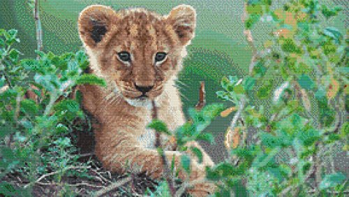 Lion Cub Cross Stitch Pattern - Detailed Photorealistic Design (Not a kit)
