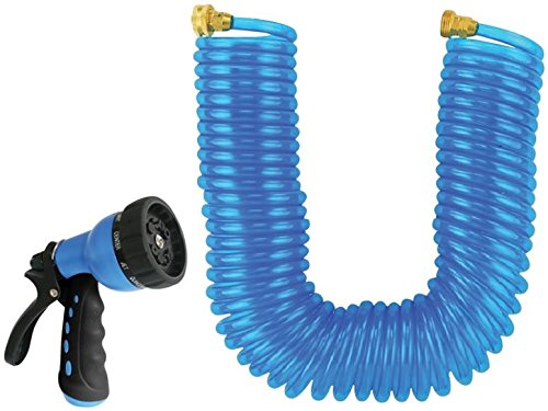 Rocky Mountain Goods Coiled Garden Hose with 10 Pattern Spray Nozzle 50 Foot by 3/8