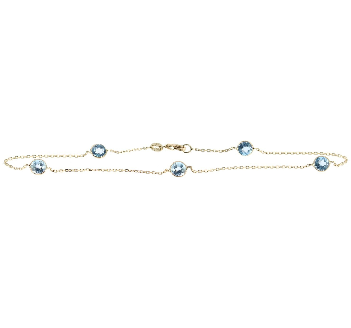 14k Yellow Gold Gemstone Anklet With Round 5mm Blue Topaz Stations 9 - 11 Inches
