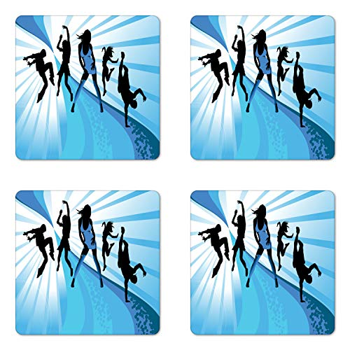 Lunarable Rap Coaster Set of Four, Young Teen Boys and Girls at a Party Disco Dance Themes People Having Fun, Square Hardboard Gloss Coasters for Drinks, Pale Blue Black White from Lunarable