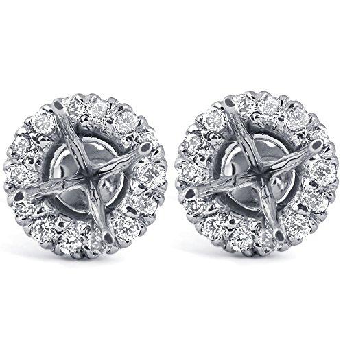 (5/8ct Diamond Halo Studs Mounting Fits 5.5-6.5mm Round Stones 14k White)