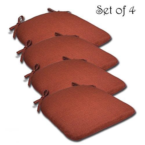 Comfort Classics Inc. SET OF 4 16W x 17Dx 1.5H Spun Polyester Outdoor SEAT CUSHION in Husk Texture Brick