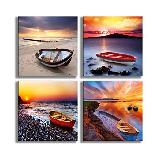 Boat Wall Art Beach Painting Ocean Seascape Sunrise Sunset 4 Panels Print on Canvas for Home Decor 12x12in (Decor Boat Wall)