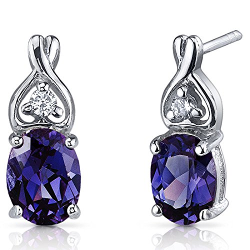 Simulated Alexandrite Earrings Sterling Silver 3.50 Carats Classic Style