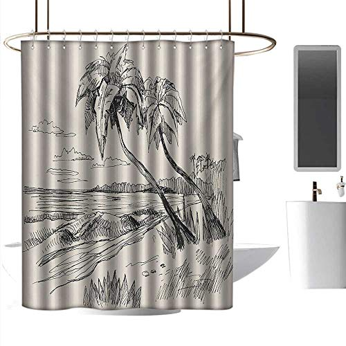 Shower Curtains White Fabric Palm Tree,Sketch of Coconut Palm Tree on Sandy Tropical Beach Exotic Oceanside View Print,Cream Black,W36 x L72,Shower Curtain for Small Shower stall