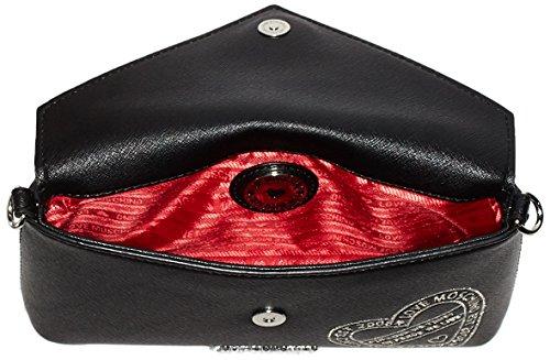 Love Moschino Borsa Saffiano Pu Nero - Pochette da giorno Donna, Schwarz (Black), 12x24x4 cm (L x H D)