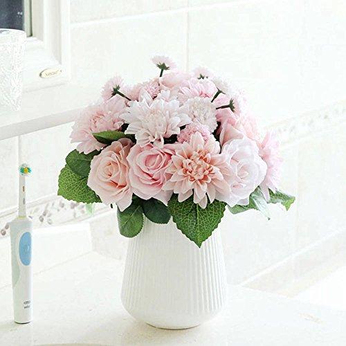 Artificial Flowers,Fake Flowers Silk Flowers Plastic Wedding 10 Heads Rose Bouquets Flower Arrangement for Home Decor Party Centerpieces Decoration (Bouquet Rose Flowers)