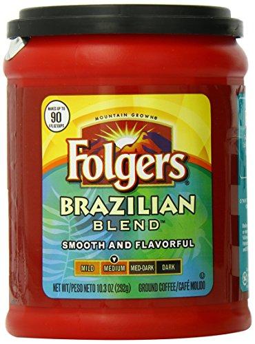 Folgers Brazilian Blend Ground Coffee, Medium Roast, 10.3 Ounce