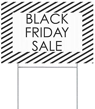 CGSignLab 5-Pack Black Friday Sale Stripes White Double-Sided Weather-Resistant Yard Sign 18x12