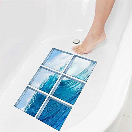 AmazingWall 3D Waves Bathtub Tattoos Anti Slip Shower Stickers Safety Decals DIY Peel and Stick 5.9x5.9 6pcs/set