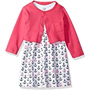 Luvable Friends Baby Girls Dress and Cardigan Set, Anchors, 9-12 Months
