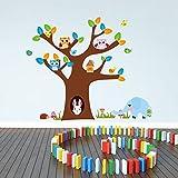 AWAKINK(TM) Cartoon Tree Elephant Rabbit Birds Owls Mushroom Baby Room Wall Decals Owls-Child Stickers Decoration Nursery Art Wallpaper Decor Wall Art Kids Room DIY Art Decal Picture