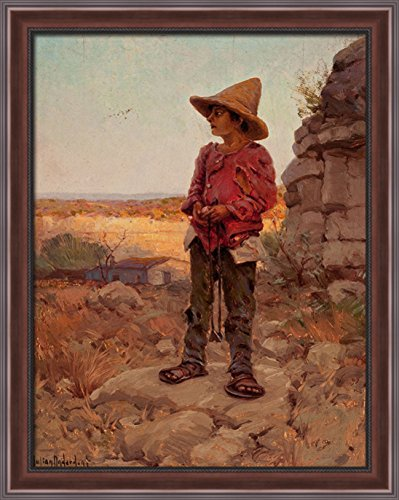 Goat Herder at the San Antonio Quarry 28x34 Large Walnut Ornate Wood Framed Canvas Art by Robert Julian - Quarry The San Antonio