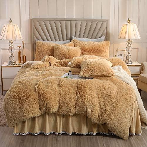 XIYU Luxury Plush Shaggy Duvet Cover Set Ultra Soft Crystal Velvet Bedding Sets 3 Pieces(1 Faux Fur Duvet Cover + 2 Faux Fur Pillowcase) (Queen, Camel)